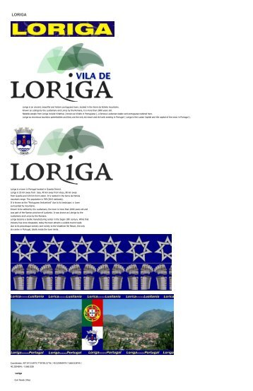 Extratos da obra do historiador António Conde sobre a história da vila de Loriga - Excerpts of the work of the historian António Conde about the history of the town of Loriga