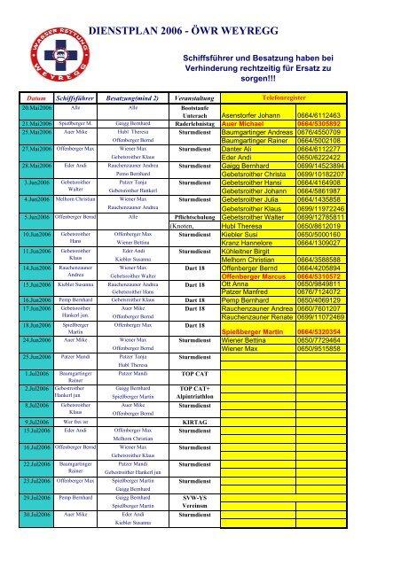 dienstplan 2006 - öwr weyregg