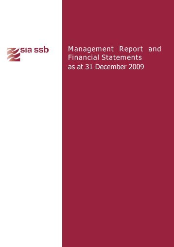 Management Report and Financial Statements as at 31 ... - SIA
