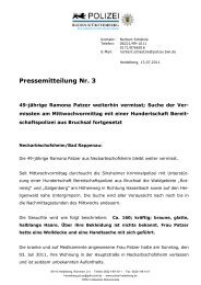 Pressemitteilung Nr. 3