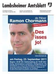 neues Programm am Freitag, 23. September 2011 Beginn: 20.00 Uhr