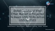 Global Cyclohexyl Vinyl Ether Market is Projected to Reach USD 30.86 million USD by 2023