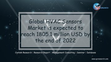 Global HVAC Sensors Market is expected to reach 1805.1 million USD by the end of 2022