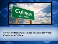 Five Most Important Things to Consider When Choosing a College
