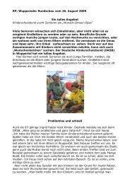 Wuppertaler Rundschau vom 26. August 2009 Ein tolles Angebot ...