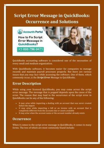 Contact 1-800-796-0471 Fix Script Error While Using the QuickBooks