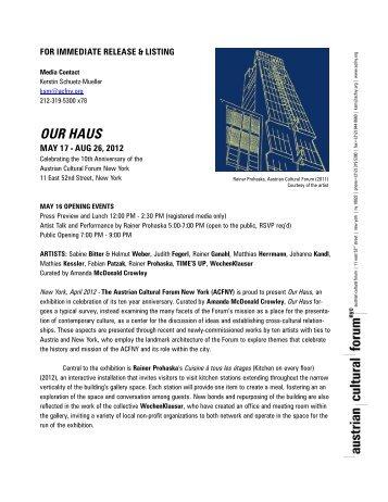 OUR HAUS - Austrian Cultural Forum New York