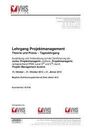 Lehrgang Projektmanagement Theorie und Praxis – Tageslehrgang