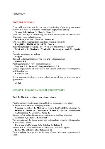 List of oral and poster presentations - Esna