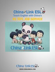 Leading TEFL Job Service China Link ESL Recruiting Teachers To Teach English In China's At Record Pace.