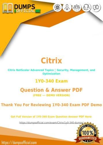 Citrix 1Y0-340 Exam Dumps PDF