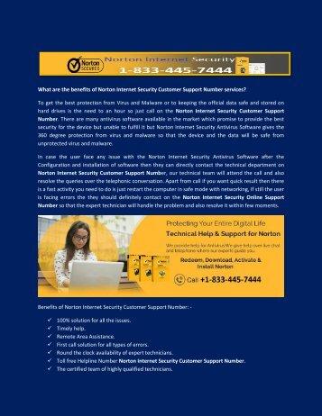 Norton Internet Security Online Support Number +1-833-445-7444