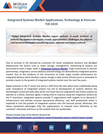 Integrated Systems Market Applications, Technology & Forecast Till 2020