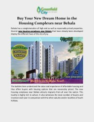Buy your new dream home in the housing complexes near Behala