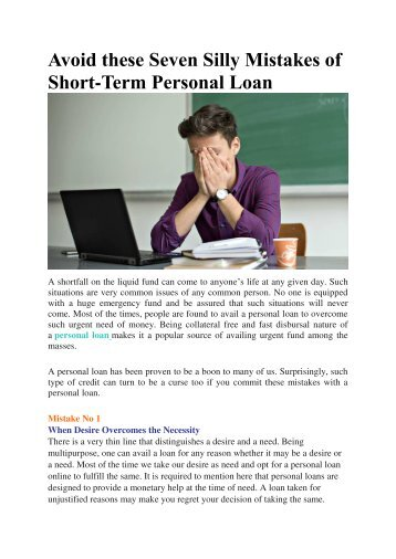 Avoid these Seven Silly Mistakes of Short-Term Personal Loan