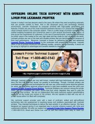 Offering Online Tech Support with Remote Login for Lexmark Printer