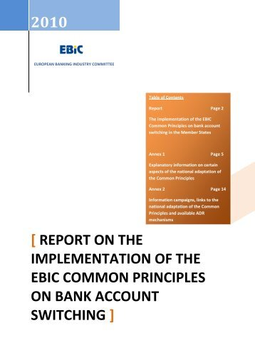 report on the implementation of the ebic common principles on bank ...