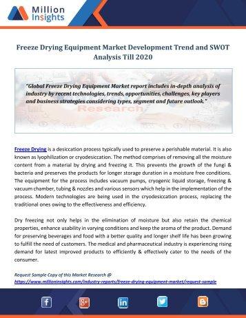 Freeze Drying Equipment Market Development Trend and SWOT Analysis Till 2020