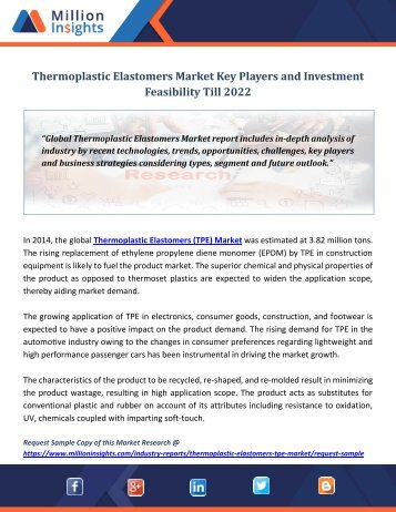 Thermoplastic Elastomers Market Key Players and Investment Feasibility Till 2022