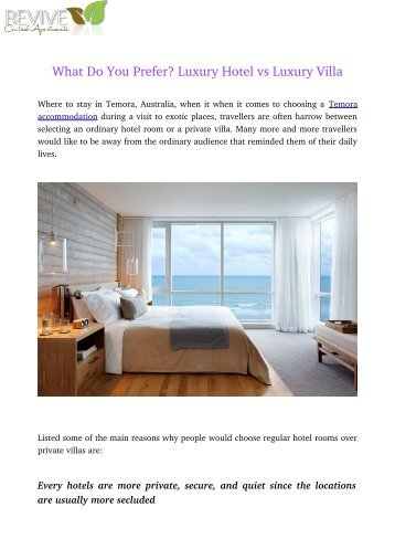 What Do You Prefer? Luxury Hotel vs Luxury Villa