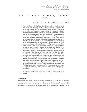 The Process of Malaysian Smart School Policy Cycle: A Qualitative ...
