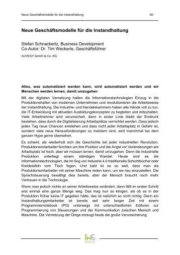 2017-07 Tagungsband InstandhaltungsForum 2017 - AUVESY Neue Geschaeftsmodelle
