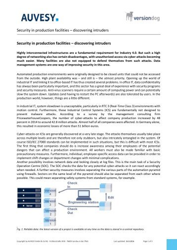 Technical article - Security in production facilities