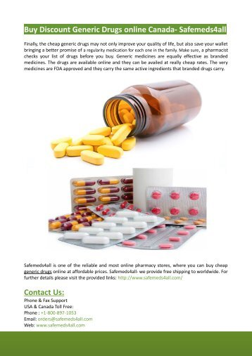 Buy Discount Generic Drugs online Canada- Safemeds4all
