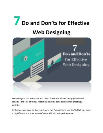 7 Do and Don'ts for Effective Web Designing