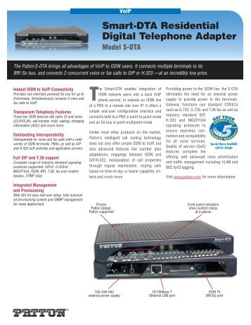 Smart-DTA Residential Digital Telephone Adapter Model S ... - Patton