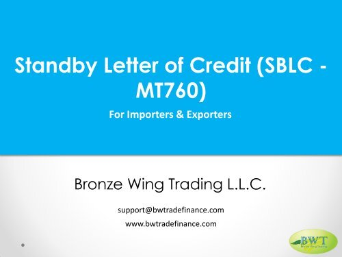 Standby Letter of Credit - SBLC - MT760