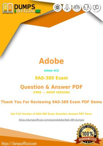 Adobe 9A0-389 Exam Dumps