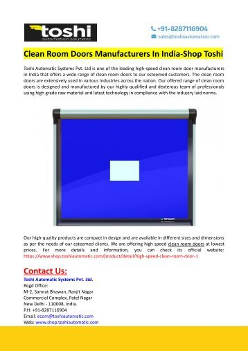 Clean Room Doors Manufacturers In India-Shop Toshi