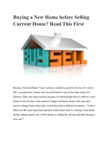 Buying a New Home before Selling Current House Read This First