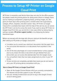 Process to Setup HP Printer on Google Cloud Print