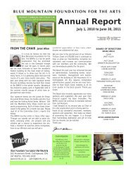 Annual Report - The Blue Mountain Foundation for the Arts