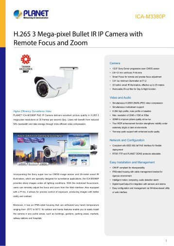 PLANET_Datasheet_IR-IP-Camera-with-Remote-Focus-and-Zoom_ICA-M3380P_2018_EN
