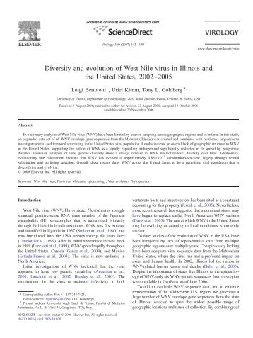 Diversity and evolution of West Nile virus in Illinois and the United ...