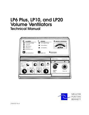 LP6 Plus, LP10, and LP20 Volume Ventilators Service