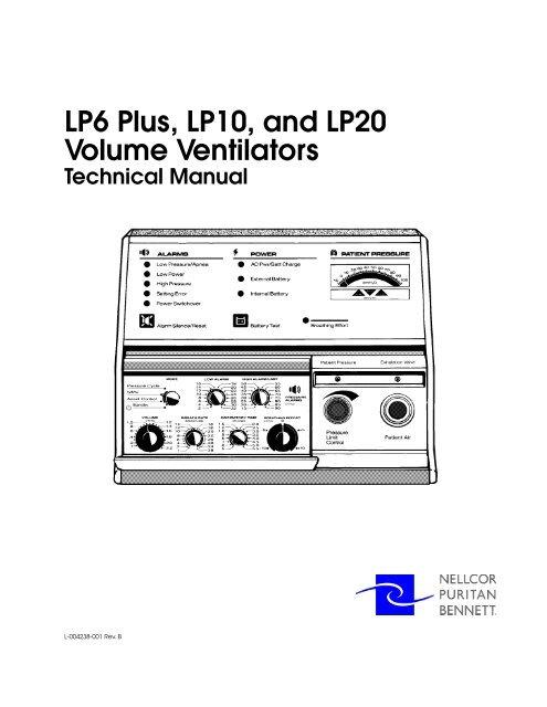 LP6 Plus, LP10, and LP20 Volume Ventilators Technical
