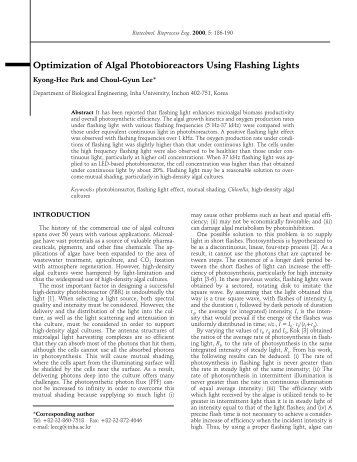Optimization of Algal Photobioreactors Using Flashing Lights