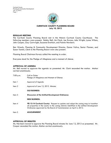 Currituck County Planning Board meeting minutes for July 10, 2012