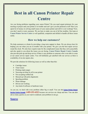 Best in all Canon Printer Repair Centre