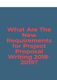 What Are the New Requirements for Project Proposal Writing 2018-2019