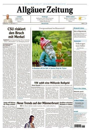 Allgäuer Zeitung Kaufbeuren vom 14. Juni 2018