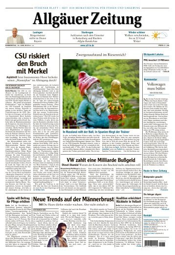 Allgäuer Zeitung Füssen vom 14. Juni 2018