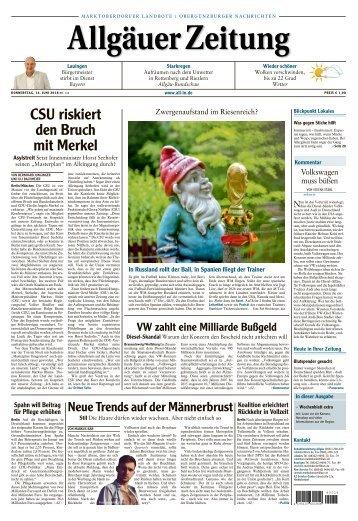 Allgäuer Zeitung Marktoberdorf vom 14. Juni 2018