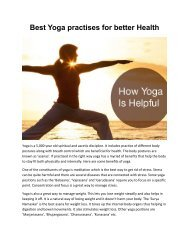 Yoga Practices For Better Health And Wealth | Dr. Morlawars