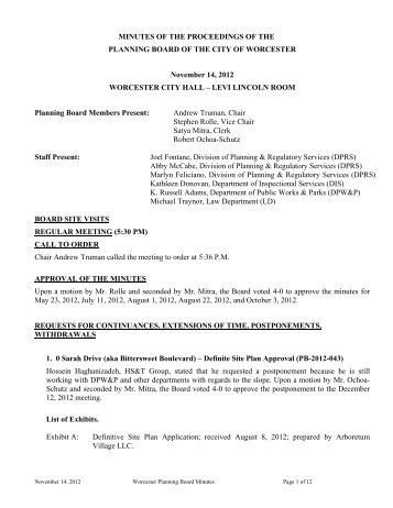 City of Worcester Planning Board Meeting Revised Agenda