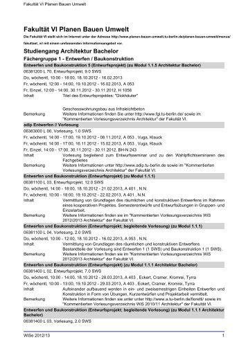 Fakultät VI Planen Bauen Umwelt - TU Berlin